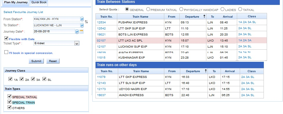 IRCTC Availability